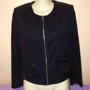 Black knit zip jacket quilted leather shoulder
